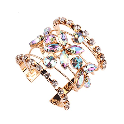 Bangle Bracelet Gold Alloy Crystal Glass Cuff Bracelet Novelty Fashion Jewelry 1 pc- HLB008 Silver Blue Multi Colored Rhinestone Bracelet