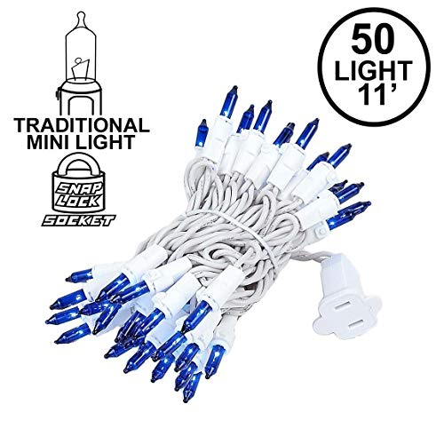Novelty Lights 50 Light Blue Christmas Mini String Light Set, White Wire, Indoor/Outdoor UL Listed, 11 Long