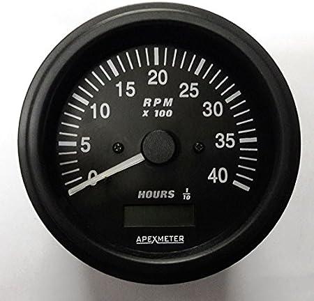 Tachometer//Hourmeter 0-3000 RPM Alternator Signal Gauge Black Bezel 12V