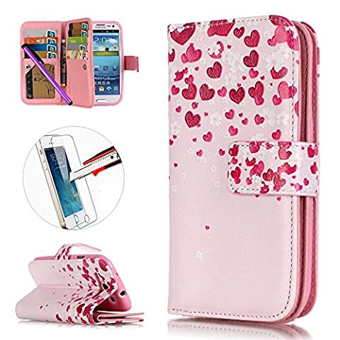 S3 Case, ISADENSER [Card Slot][Kickstand] PU Leather Built-in 9 Cards Magnetic Wallet Case for Samsung Galaxy S3 I9300 + 1pcs Tempered Glass Screen + 1pcs Stylus Pen (Nine Cards (Rilakkuma Phone Case Galaxy S3)