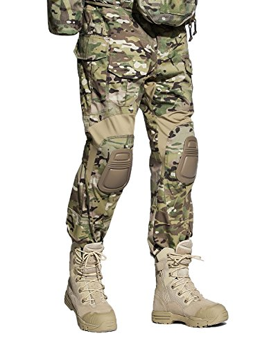 Army Combat Trousers (EMERSONGEAR Tactical Camouflage Pants With Knee Pads Military Combat Trousers Army For Airsoft Paintball MC Large)