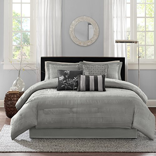 Jacquard Queen 7 Piece Comforter - Madison Park Hampton Queen Size Bed Comforter Set Bed in A Bag - Grey, Jacquard Pleated Stripes – 7 Pieces Bedding Sets – Ultra Soft Microfiber Bedroom Comforters