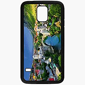 Unique Design Fashion Protective Back Cover For Samsung Galaxy S5 Case Alpine Town Mountains Houses Bridge River Trees Nature Landscape Black