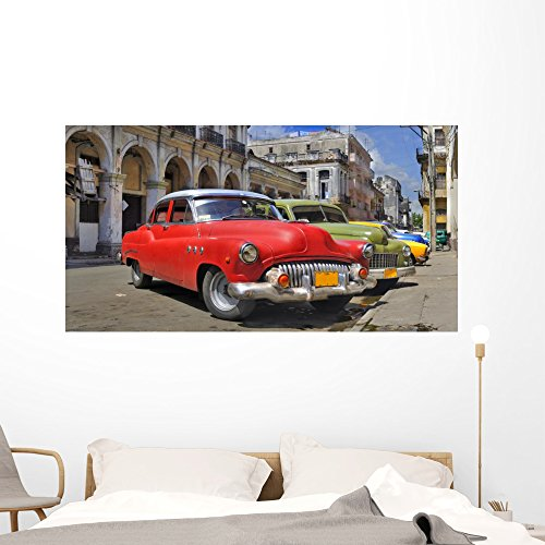 Wallmonkeys Havana Street with Colorful Wall Mural Peel and Stick Graphic (60 in W x 32 in H) WM128330
