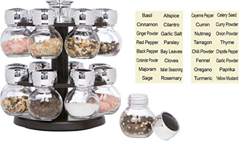 Trademark Innovations 16 Glass Jar  Revolving Carousel Spice Rack Jar Spice Carousel