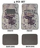 ALLBrand Universal Fit Front/Rear 4-Piece Full Set Sublimation Western Print Custom Design Carpet Car SUV Truck Floor Mats (Cow Girl/Gray)