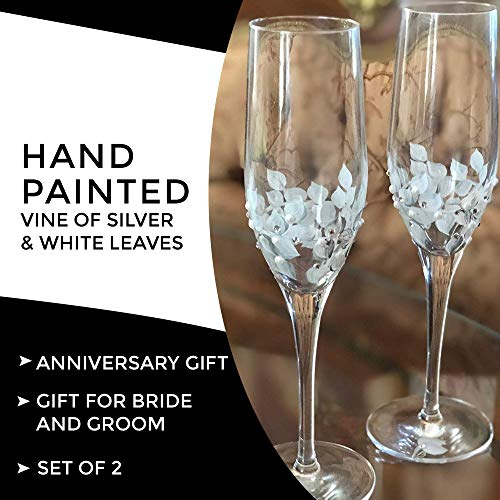 Hand Painted Champagne Flutes Silver and White Set of 2 (Hand Painted Flutes Champagne)