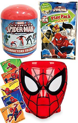 Marvel Spider-Man Character Head Cup + Mini Figure Mystery Capsule Play Pack Coloring book Bonus Stickers Super Hero Bundle