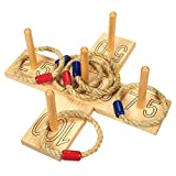 Juvale Ring Toss Throw Game - Rope Ring Throwing Game with 6 Rope Rings and 2 Wooden Boards - Fun Party Outdoor Game for Children and Adults, Wood