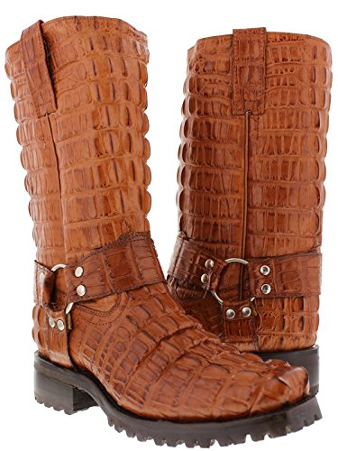 - EL PRESIDENTE - Men's Cognac Full Crocodile Tail Leather Biker Motorcycle Boots 10.5 D(M) US