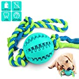 Interactive Dog Toys, Dog Chew Toys Ball for Small Medium Dogs, IQ Treat Boredom Food Dispensing, Puzzle Puppy Pals Tough Durable Rubber Pet Ball, Best Cleans Teeth Dog Balls (Blue)