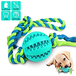 CHLEBEM Interactive Dog Toys, Dog Chew Toys Ball for small Medium dogs, IQ Treat Boredom Food Dispensing, Puzzle Puppy Pals Tough Durable Nontoxic Rubber Pet ball, best Cleans Teeth dog balls (blue)