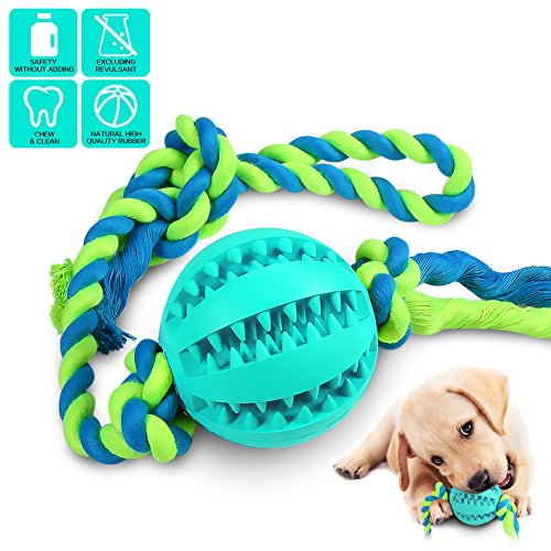 Interactive Dog Toys, Dog Chew Toys Ball for small Medium dogs , IQ Treat Boredom Food Dispensing, Puzzle Puppy Pals Tough Durable Rubber Pet ball, best Cleans Teeth dog balls (dog toys pink) (blue) -
