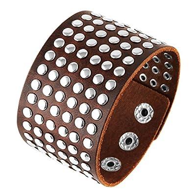 HZMAN Unisex Metal Spike Studded Cuff Bangle Punk Rock Wide Strap Genuine Leather Bracelet