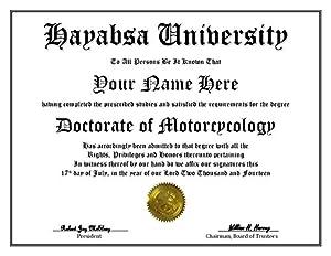 Amazon.com: Hayabusa University Degree – Custom Novelty Diploma ...
