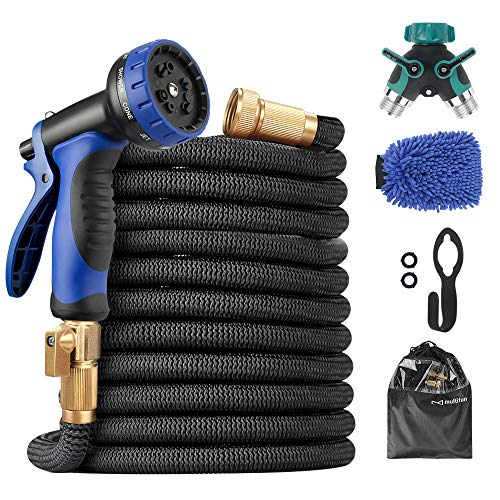 Expandable Garden Hose, Upgraded 50ft Water Hose with 10 Function Spray Nozzle and Splitter & Wash Mitt, Flexible Hose with 4 Layers Latex & 3750D Fabric, 3/4 Heavy-Duty Brass Fitting, Hook & Bag