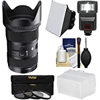 Sigma 18-35mm f/1.8 Art DC HSM Zoom Lens for Nikon DSLR Cameras with Flash + Soft Box & Diffuser + 3 UV/CPL/ND8 Filters + Kit