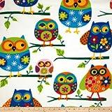 Windham Fabrics Winter Fleece Owls Multi Fabric by The Yard, Multicolor
