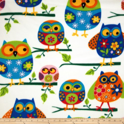 Windham Fabrics Winter Fleece Owls Multi Fabric by The Yard, Multicolor