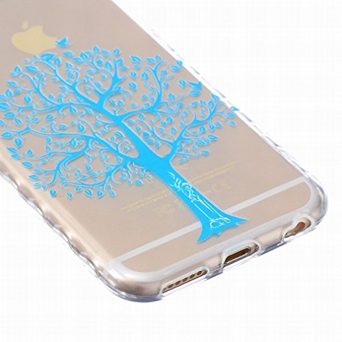 LEMORRY iphone 6 Plus / 6S Plus (5.5inch) Coque Etui, [Dérapage] Ripple Bord Conception Bleu Arbre Soft Mince Soft Caoutchouc TPU Silicone Transparent Clear Skin Housse Protecteur