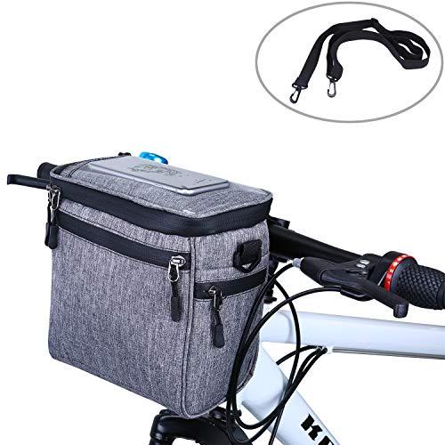 SHINYEVER Bike Handlebar Bag Bicycle Basket Front Storage Bag Mini Shoulder Bag Handbag with Detachable Shoulder Strap