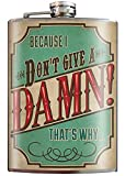 Don't Give a Damn Gift Flask - 8oz Stainless Steel Flask - come in a GIFT BOX - by Trixie & Milo