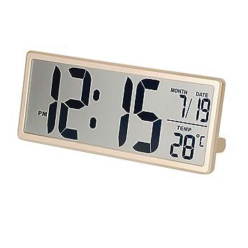 Creativo Reloj Despertador electrónico Pantalla Grande Reloj Digital con Alarma Pantalla LCD con Fecha y Hora Pantalla de Temperatura Dormitorio de la Sala ...