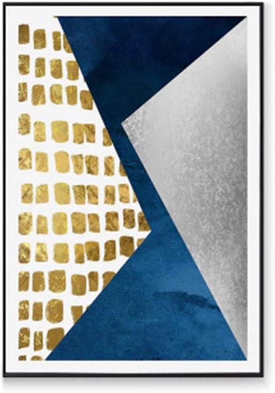 L.Z.H アートパネル 壁飾り 現代のスカンジナビアスタイルブルーとゴールドの幾何学的な線の背景装飾は、リビングルームエントランス廊下抽象絵画Cバージョン40 * 60センチメートル絵画 壁掛けキャンバス