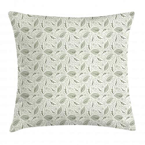"""Ambesonne Leaves Throw Pillow Cushion Cover, Floral Vintage Ornamental Flourishing Nature Illustration Retro Swirls Antique, Decorative Square Accent Pillow Case, 18"""" X 18"""", Green Cream"""