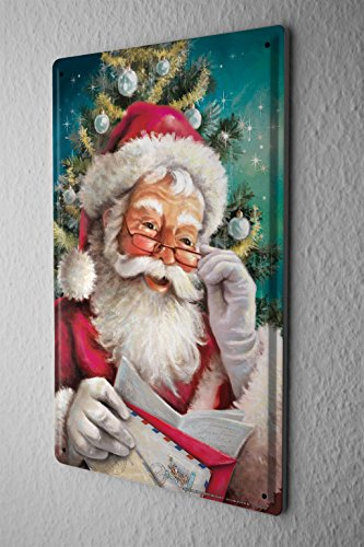 Tin Sign Christmas Decoration Santa Claus Lecture Metal Plate 8X12