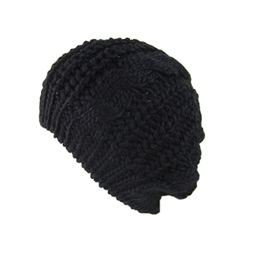 c6462f739fe Image Unavailable. Image not available for. Color  Uplife Winter Warm Women  Lady s Baggy Beret Knit Beanie Crochet Slouch ...