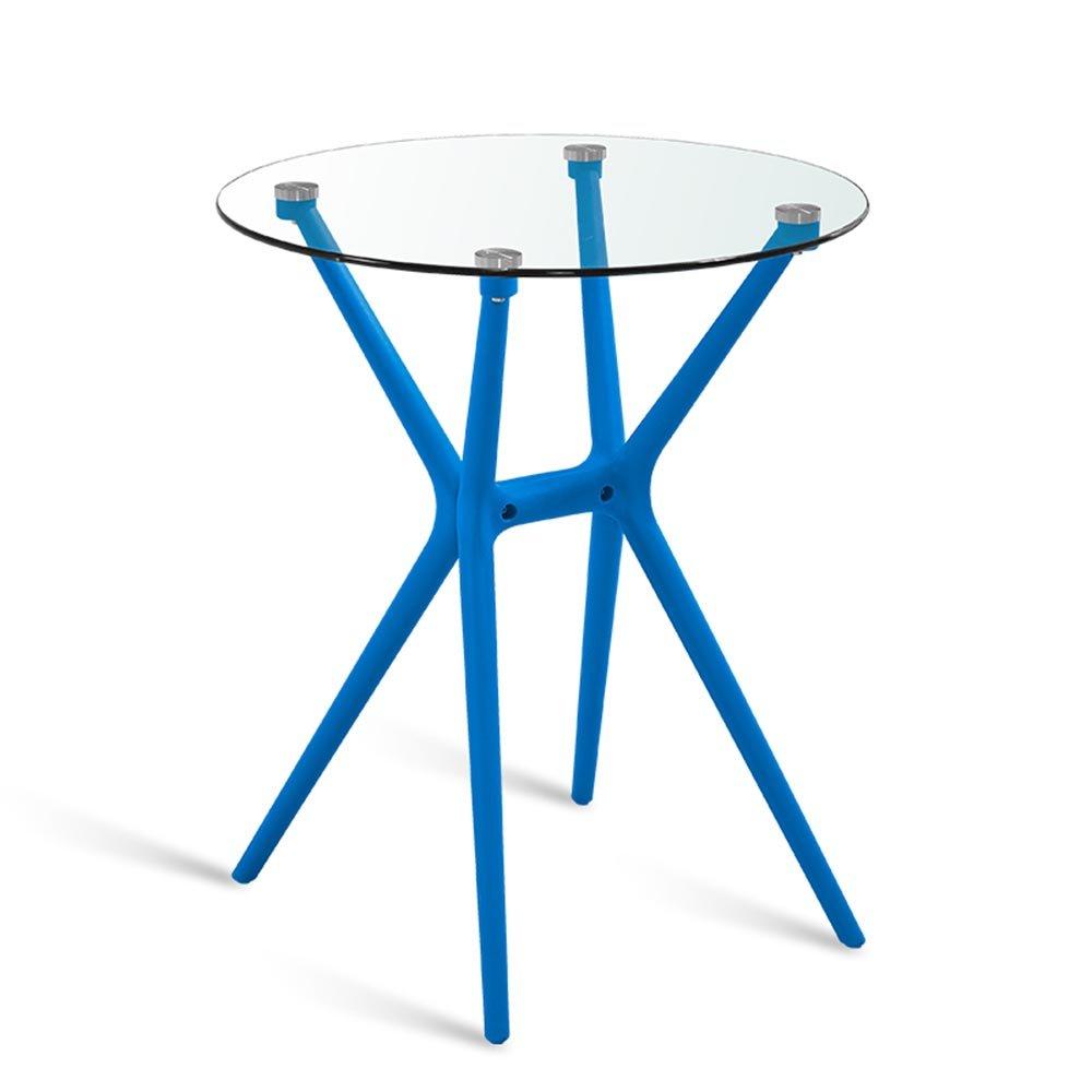 XIAOLIN シンプルなダイニングテーブルミーティングテーブル屋外の強化ガラスラウンドテーブル家庭用バルコニーカジュアルコーヒーテーブルオプションカラー (色 : Blue) B07F5FXXZV Blue Blue
