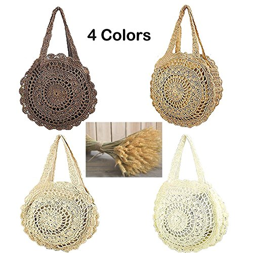 Abuyall Beach Women's Straw Shopping Shoulder Cute Fashion Zip Bag Tote Weave Round Large Pt1 Bag Summer wrwFqRf0x