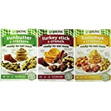 GoPicnic Ready-To-Eat Meals 3 Flavor Variety Bundle: (1) GoPicnic Turkey Stick & Crunch, (1) GoPicnic Hummus & Crackers, and (1) GoPicnic Sunbutter & Crackers, 2.7-6 Oz. Ea. (3 Boxes Total)