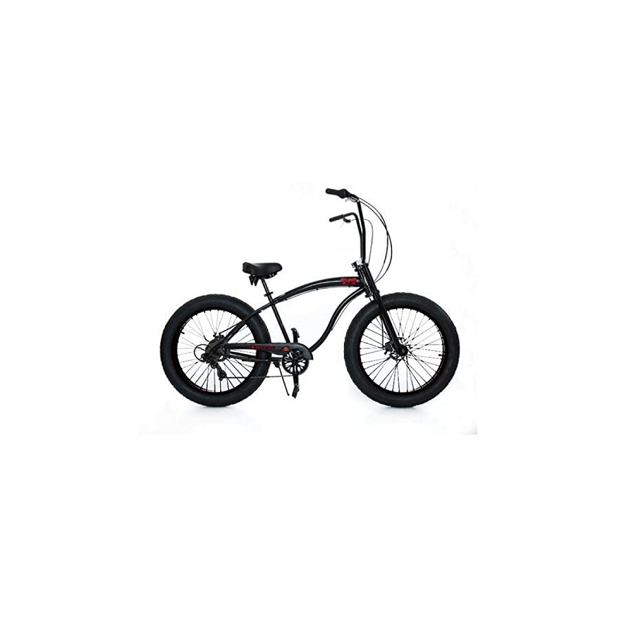 "Micargi Slugo SS 26"" Fat Tire 7 Speed Cruiser Bicycle w/ Hi RISE Handlebar Black"