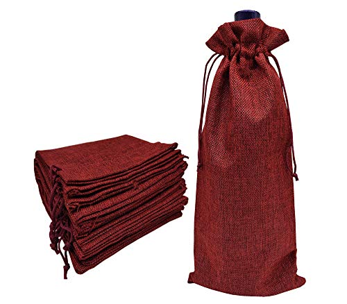 Ankirol 10pcs Burlap Bottle Bags with Drawstring Gift Packaging Wine Bags 5.5x14.5 inch Reusable Bottle Wrap Dresses Pouches (Wine red) ()