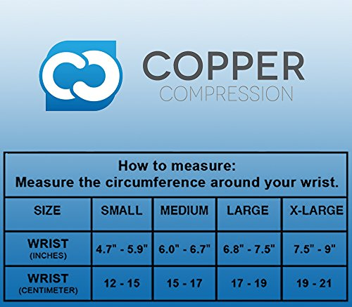 Copper Compression New Recovery Wrist Sleeve with Adjustable Wrap for Extra Support. Guaranteed Highest Copper Wrist Brace. Carpal Tunnel, RSI, Sprains, Workout (1 Sleeve Medium - Fits Either Hand) by Copper Compression (Image #2)