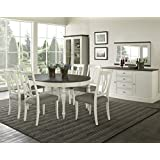 Coastlink Vegas Round to Oval Dining Table Set for 6 - Heritage Oval Back Chairs