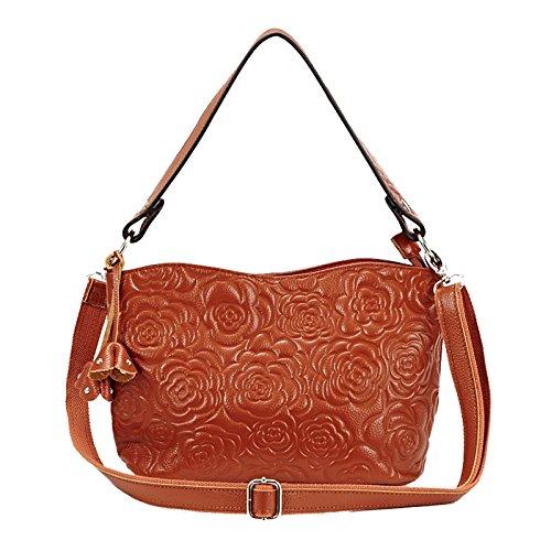 JIANBAO Womens Rose Embossed Leather Shoulder Bags Ladies Cross Purses Zipper Handbags Satchel (Embossed Messenger Bag)