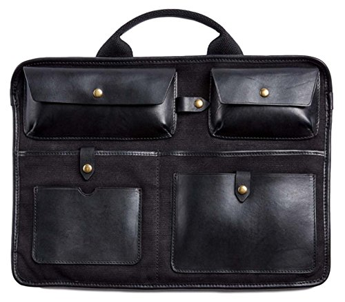 Otter Pass Bag Insert in Leather & Canvas - Black by Otter Pass