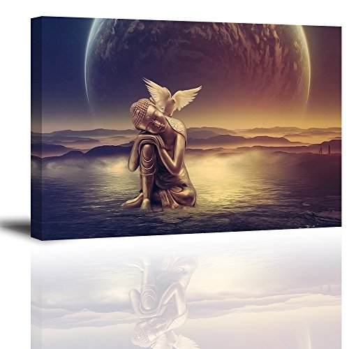 Buddha Wall Art of Contemplative World - Ready to Hang Canvas Prints for Office, Waterproof, 16x24 inch