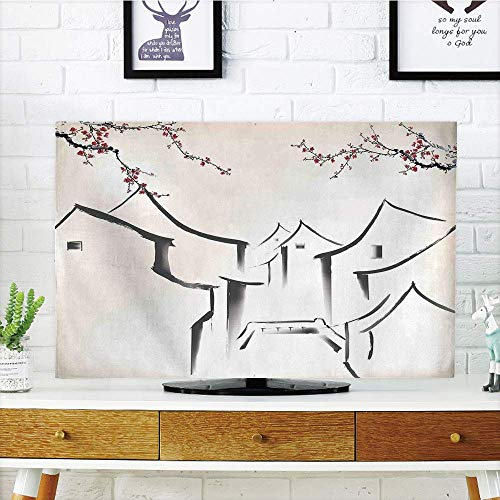 (LCD TV dust Cover Customizable,Asian Decor,Sketchy Houses and Sakura Trees Old Town Pagoda Eastern Heritage Romantic Artful Print,Ecru Red Black,Graph Customization Design Compatible 42