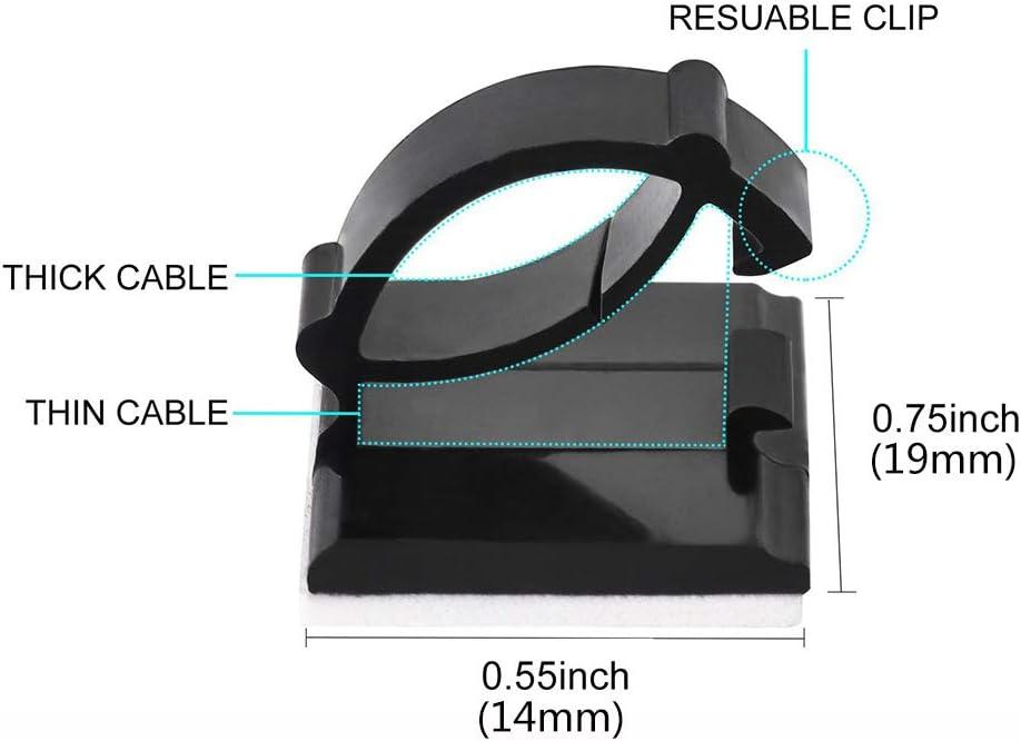 Rubywoo/&Chili 30 clip adesive per cavi per auto regolabili ufficio e casa 19 x 14 mm
