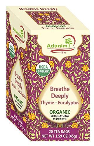 Adanim Bio Eucalyptus Thyme & Mullein Tea Bags - Organic Gourmet De-Congest Lung Health Respiratory Support Herbal Tea Blend (Pack of 4) - Mullein Leaf Tea