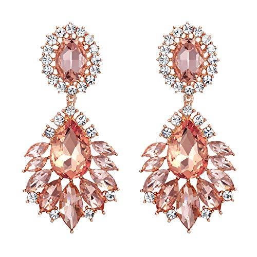 Flyonce Women's Crystal Floral Flower Leaf Vintage Style Chandelier Earrings Champagne Color Rose Gold-Tone