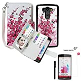 LG G3 Wallet Case, xhorizon TM SR Premium Leather Folio Case Wallet Magnetic Detachable Purse Multiple Card Slots Case Cover for LG G3 (Wintersweet with a 9H Tempered Glass Film)
