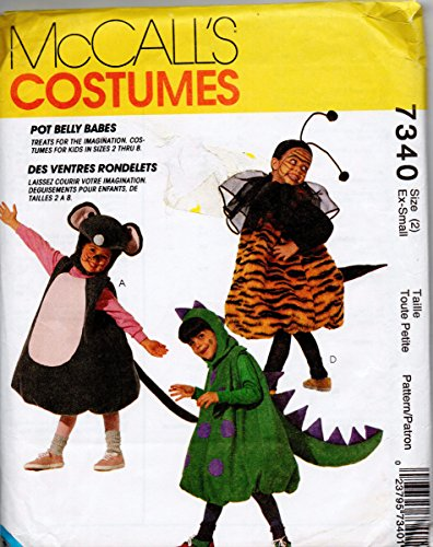 McCalls 7340 Childrens Pot Belly Mouse Pumpkin Train Lion Dinosaur Bee Costumes Sewing Pattern Size XSmall 2]()