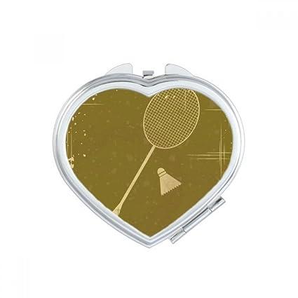 Bádminton ilustración patrón corazón compacto espejo de maquillaje portátil para mano bolsillo espejos regalo