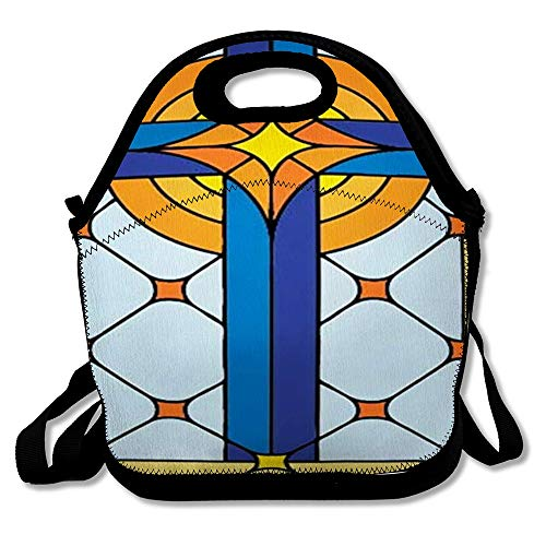 Reusable Lunch Bag for Men Women Catholic Orange Church Window Cross Stained Glass Antique Red Easter Gothic Crucifix Jesus Tile Insulated Lunch Tote for Travel Office School