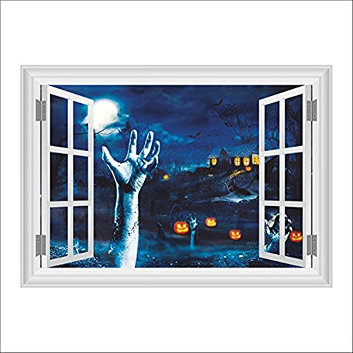 FYshun Halloween 3D Wall Sticker Fake Window View of Blood Hand Tomb Horror Night Window View Waterproof Removable Wall Art Sticker (Apply Fake Blood Halloween)